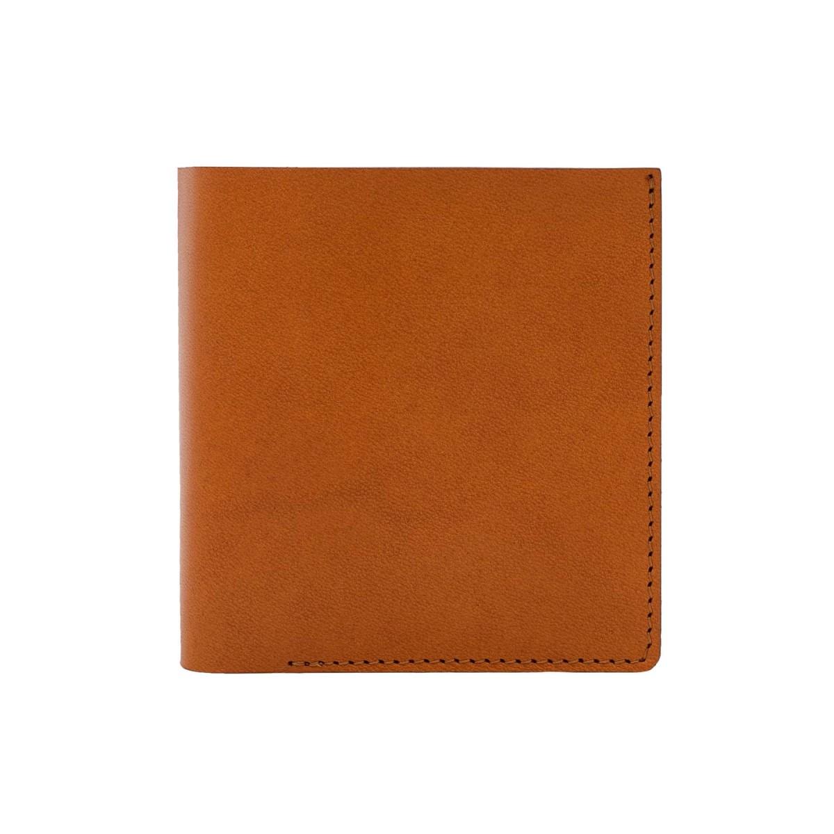 Faltbare Brieftasche in cognac - aus premium pflanzlich gegerbtem Leder