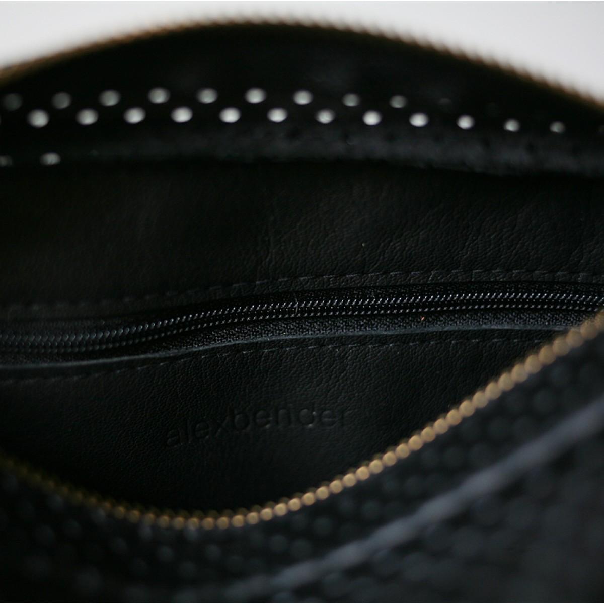 alexbender Minimalistische Schultertasche ZIP echt Leder Schwarz perforiert