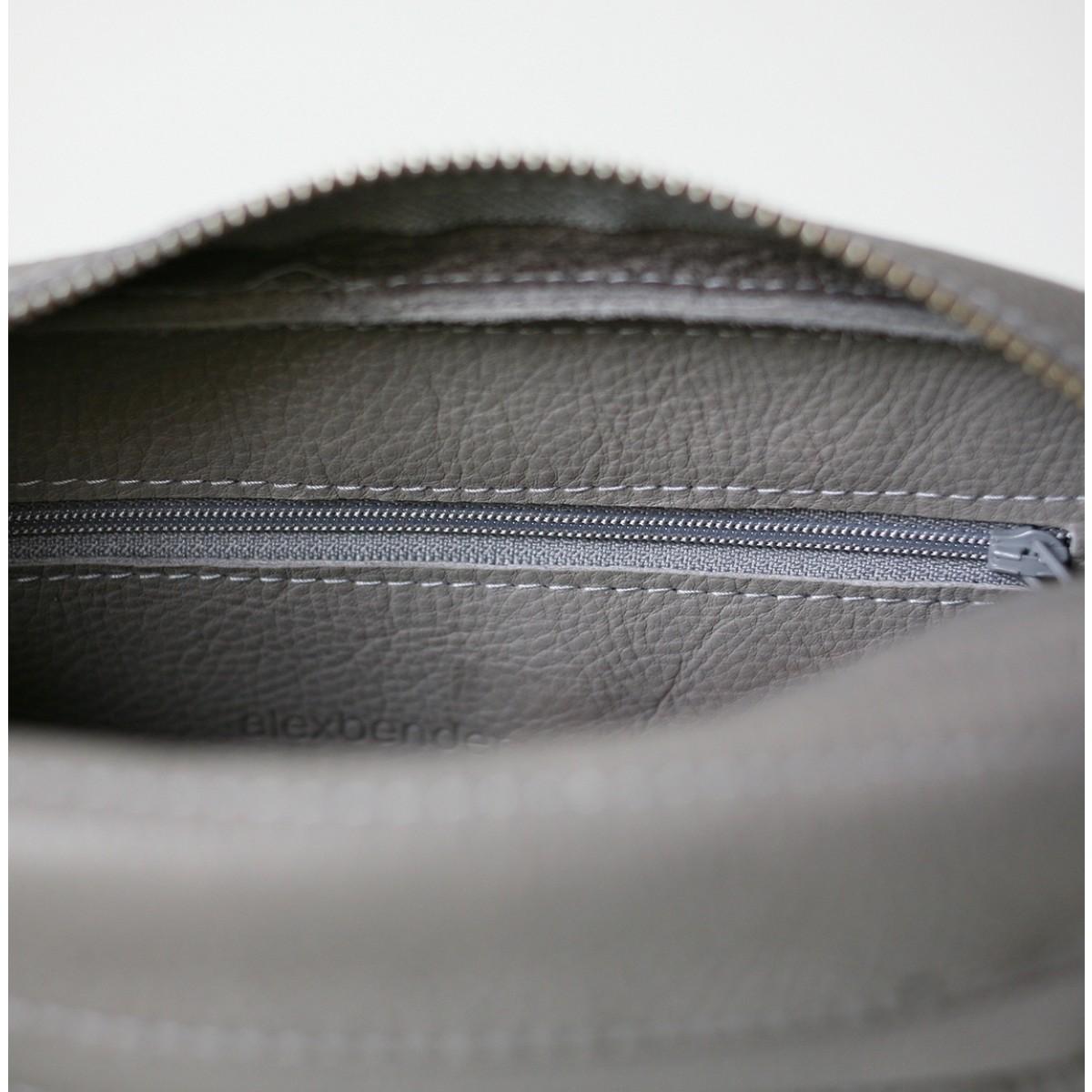 alexbender Minimalistische Schultertasche ZIP echt Leder Kieselgrau