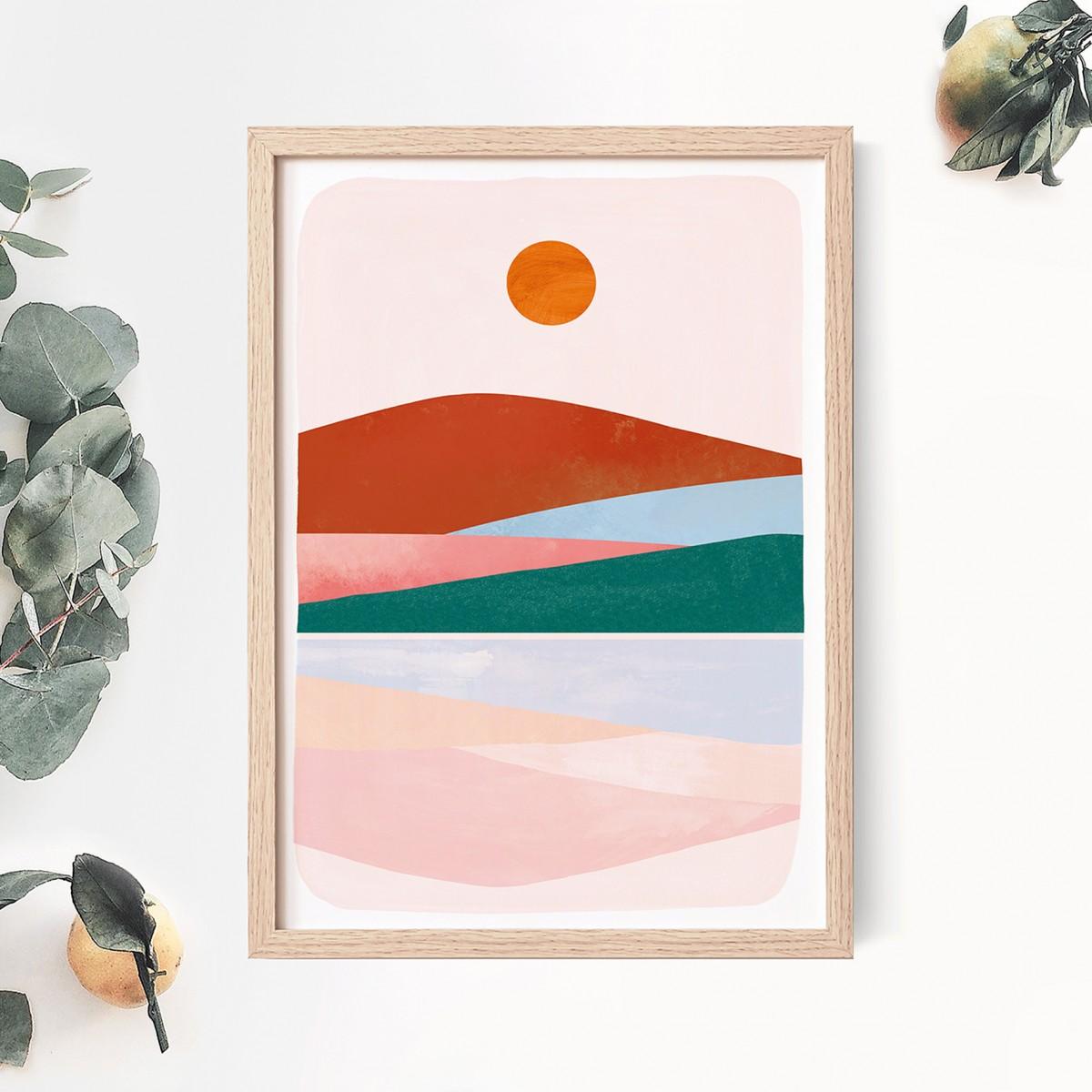 "Paperlandscape   Kunstdruck ""Bunte Berglandschaft""   Art Print   verschiedene Größen"