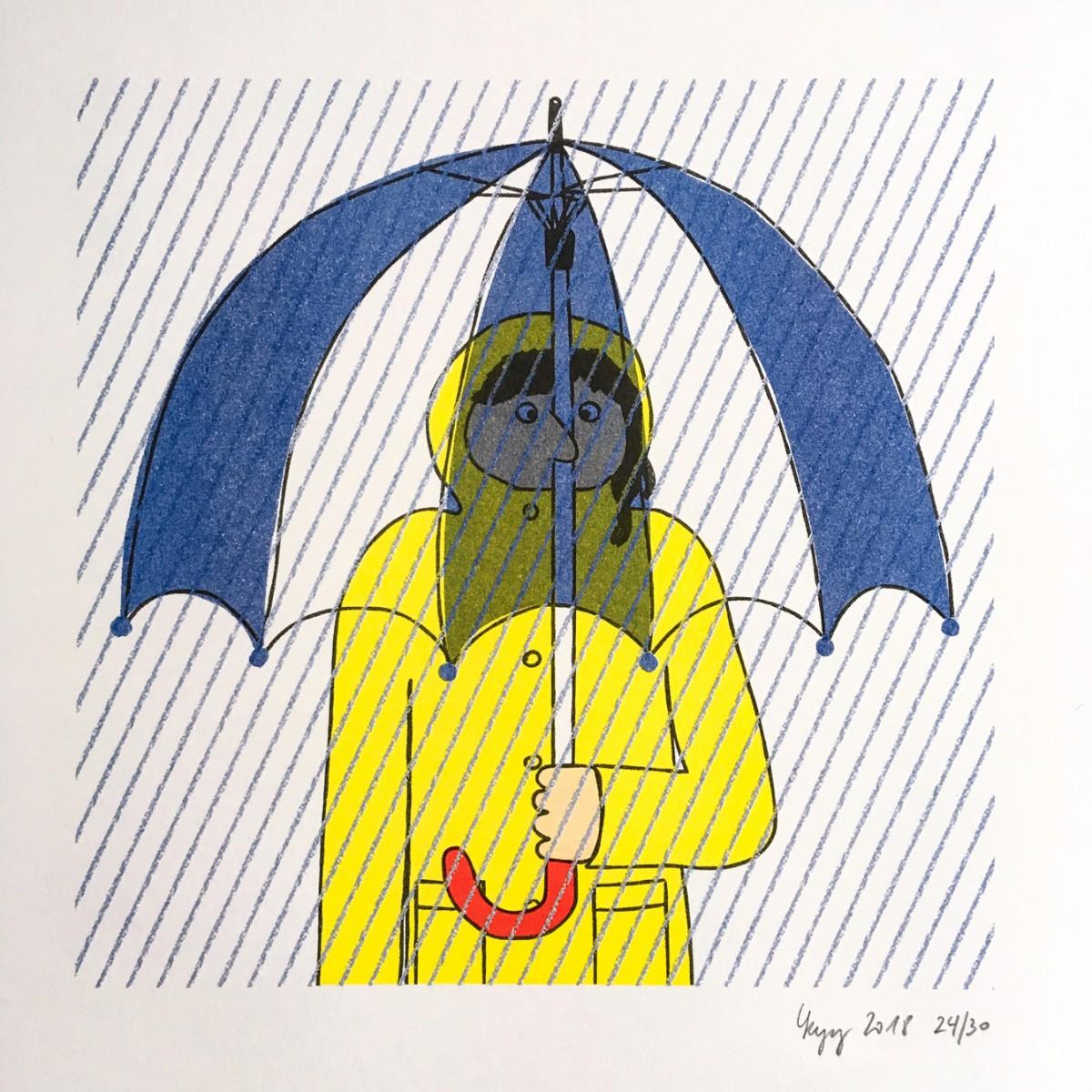 Ella Umbrella – YUKY RYANG Risografie, DIN A3