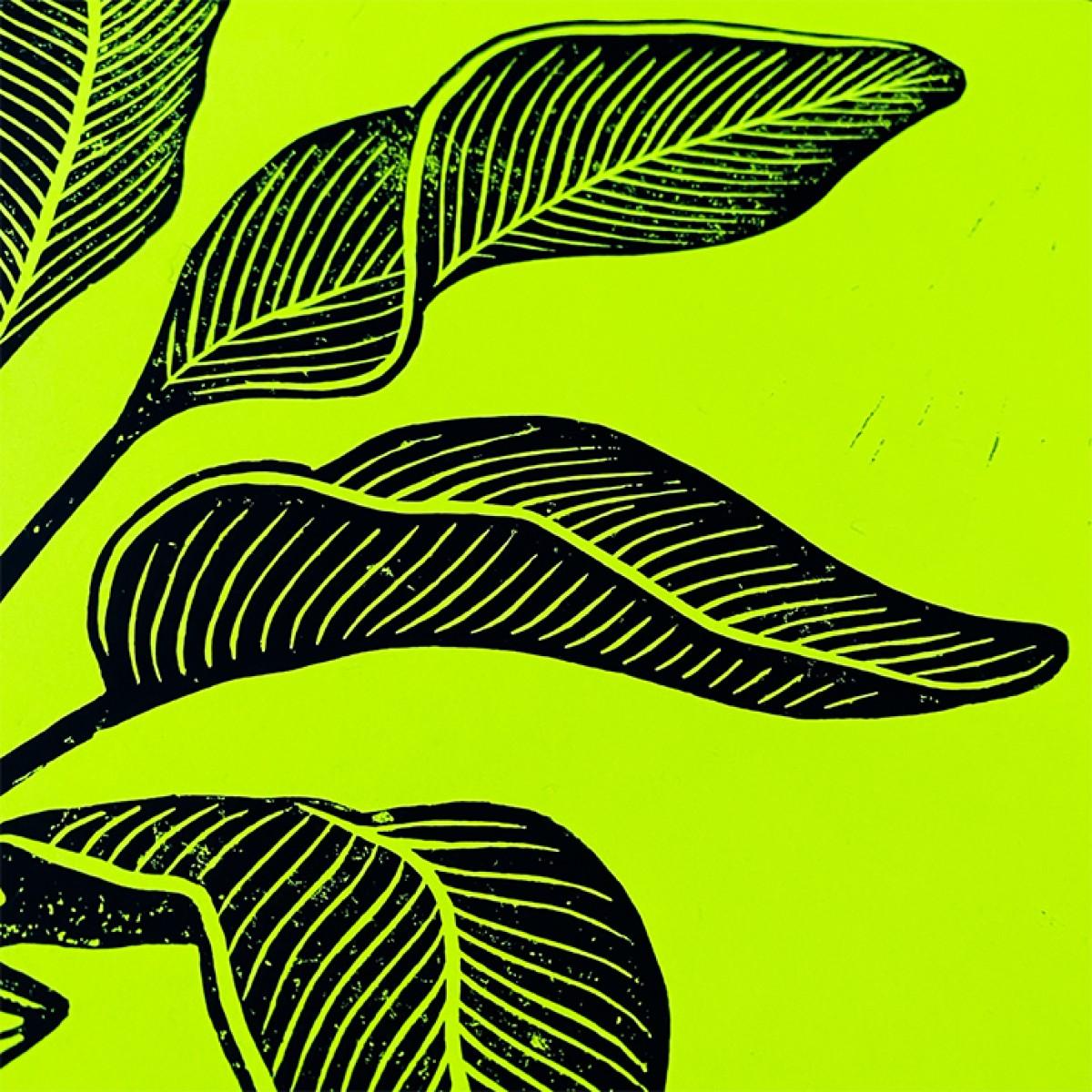 Juliana Fischer - Vase Sphinx - Linoldruck, neongelb, DIN A3