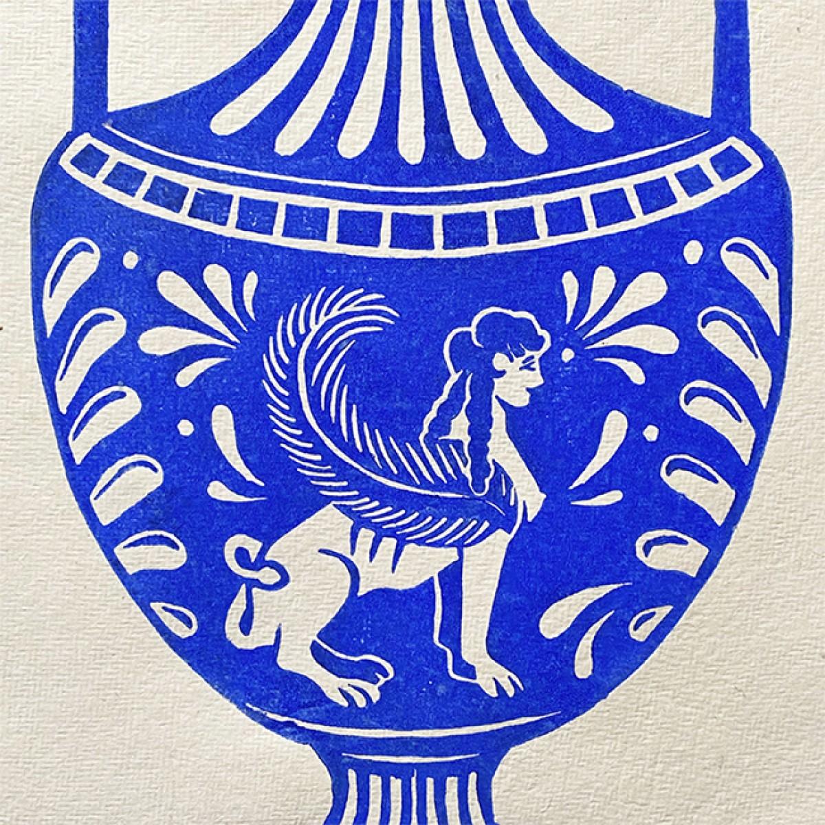 Juliana Fischer - Amphore Sphinx - Linoldruck, blau, DIN A3
