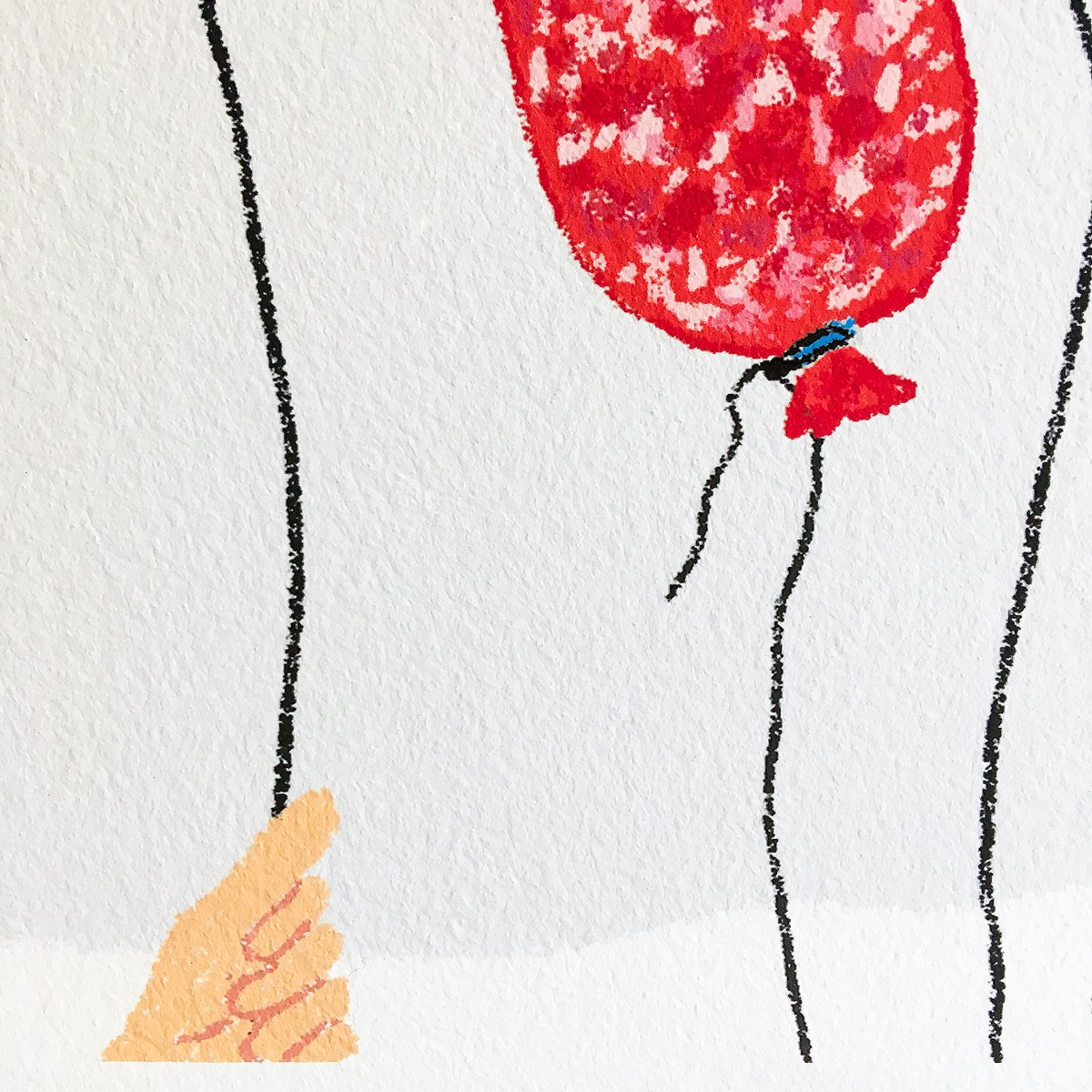 Wurstballon – YUKY RYANG hochwertiger Kunstdruck (Giclée), Format 40 x 40cm