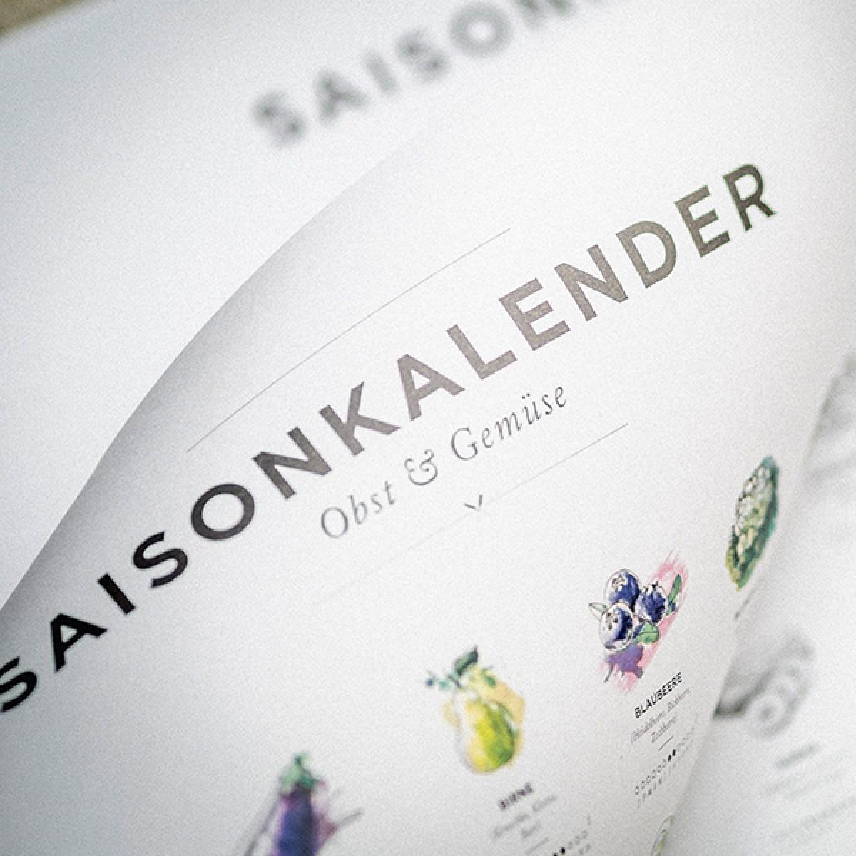Saisonkalender Obst & Gemüse im Garten, Dekoration Küche, Wandkalender als wall decor für jedes Jahr. Poster / Plakat in SW (ohne Rahmen)