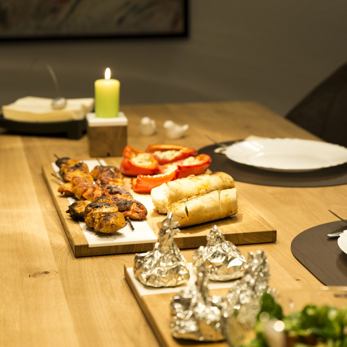 Servierbrett 2er Set groß und klein | Eiche Küchenbrett