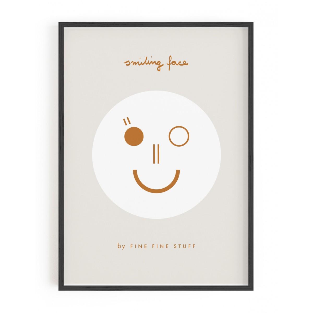 FINE FINE STUFF - Poster - Smiling Face - Ocker - 30x40