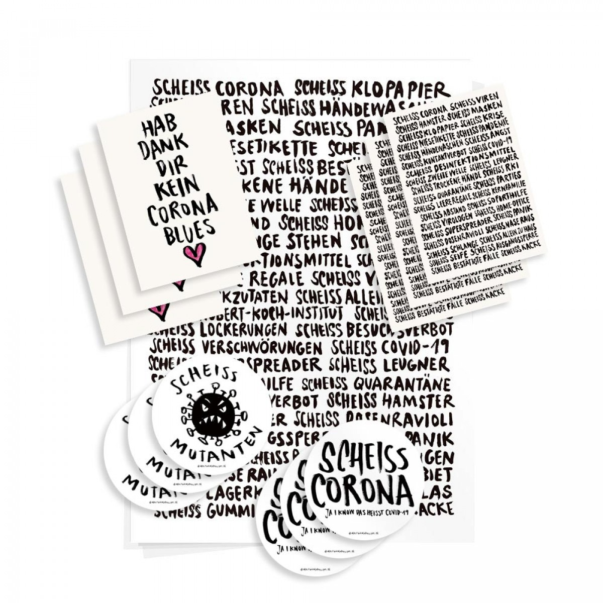 Wolfgang Philippi CORONA SOFORTHILFE Paket (1 Plakat, 6 Karten, 6 Aufkleber)