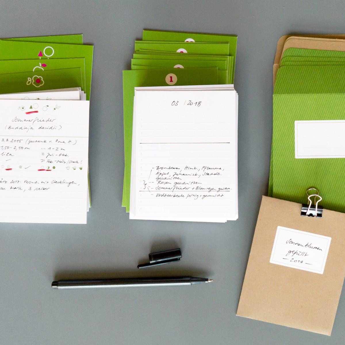 sperlingB _ Gartenbox mit Etikettenrahmen, apfelgrün, Gartentagebuch, Pflanzensammlung, Samentüten