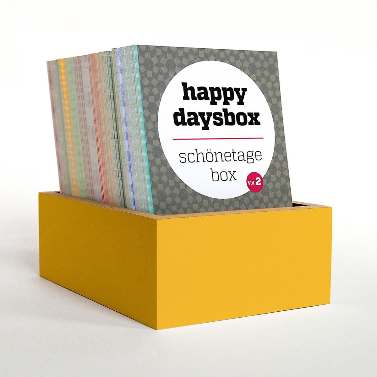 sperlingB – happydaysbox, safrangelb, sprachneutraler Erinnerungskalender, schönetagebox Vol. 2