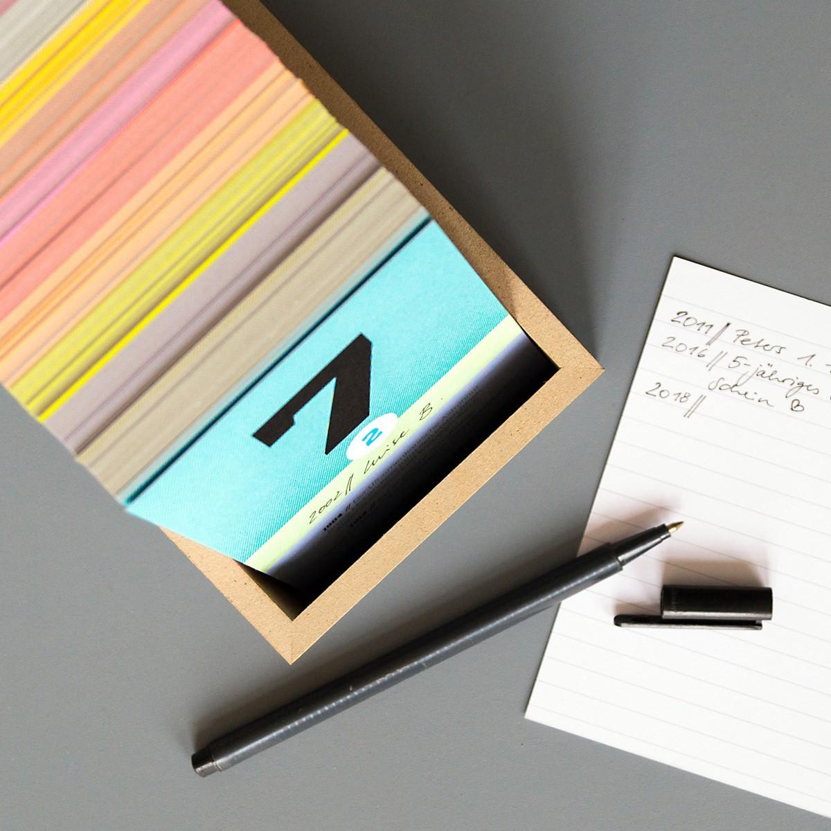 sperlingB – schönetagebox, petrolblau, immerwährender Kalender in der Box