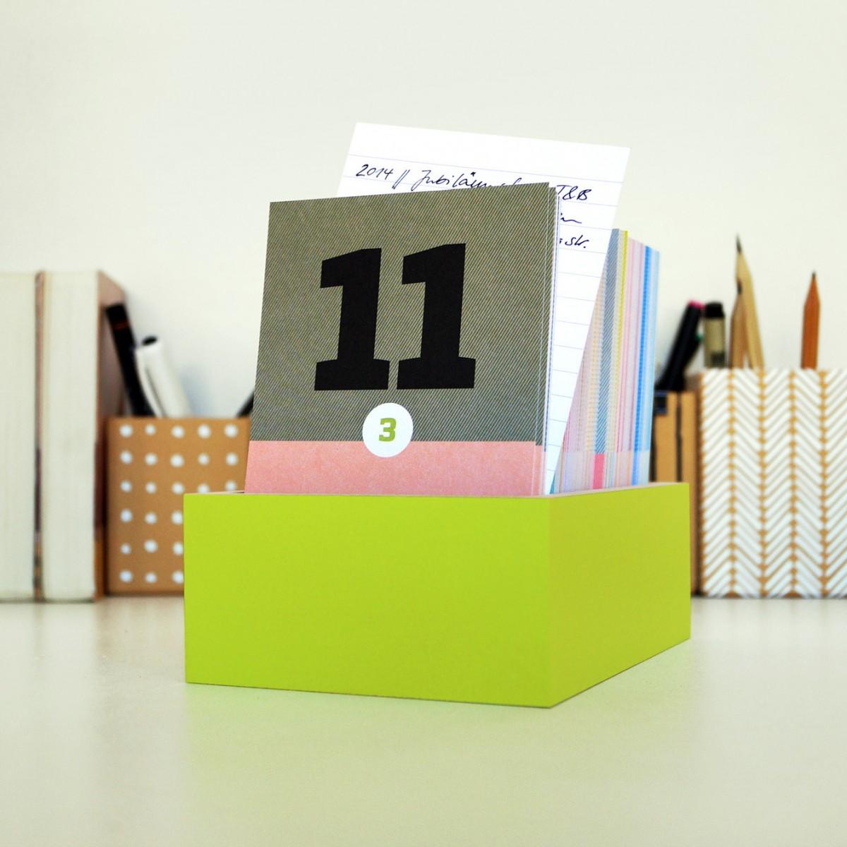 sperlingB – schönetagebox, apfelgrün, immerwährender Kalender in der Box