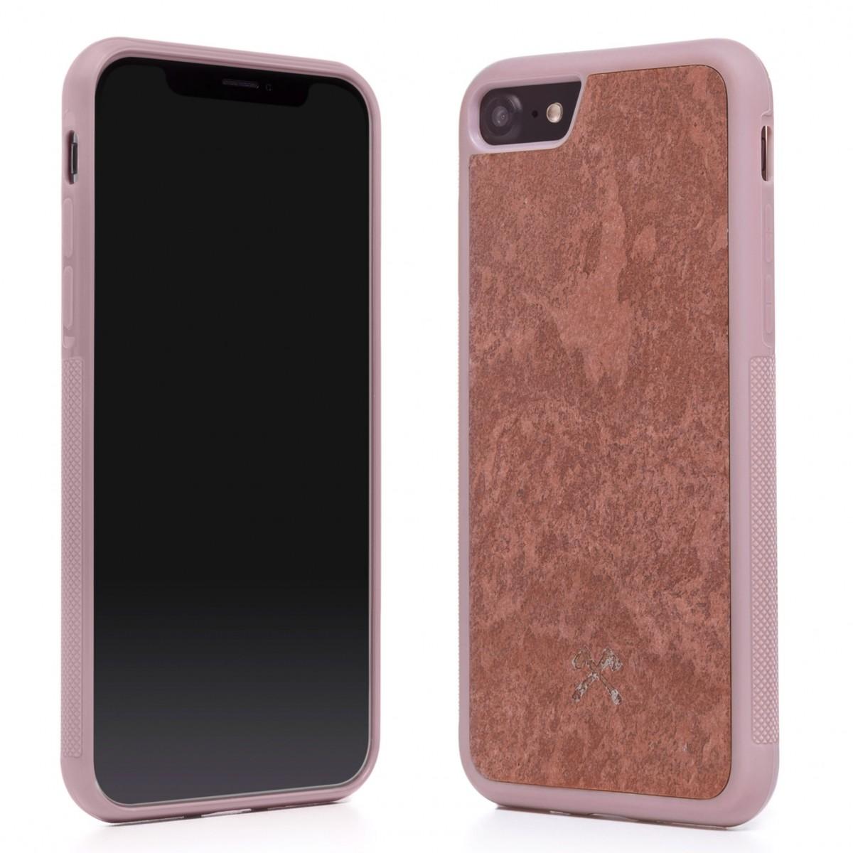 Woodcessories - EcoBump Stone - Premium Design Hülle, Case, Cover, Backcover für das iPhone 7 / 8 aus hochwertigem Stein (Volcano Schwarz, Camo Grau, Canyon Rot)