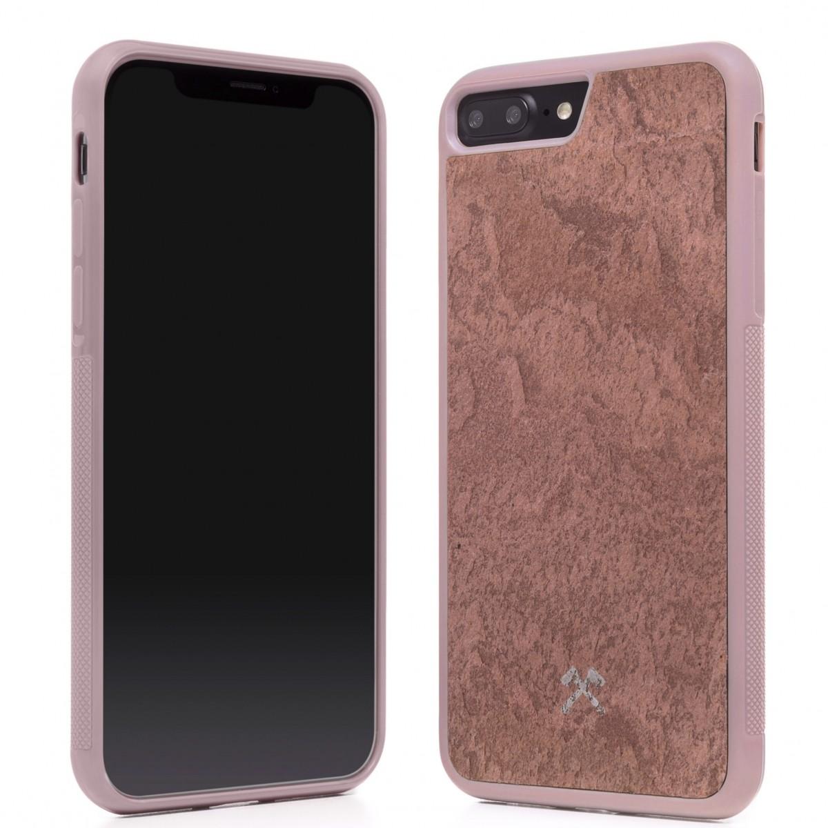 Woodcessories - EcoBump Stone - Premium Design Hülle, Case, Cover, Backcover für das iPhone 7 / 8 Plus aus hochwertigem Stein (Volcano Schwarz, Camo Grau, Canyon Rot)
