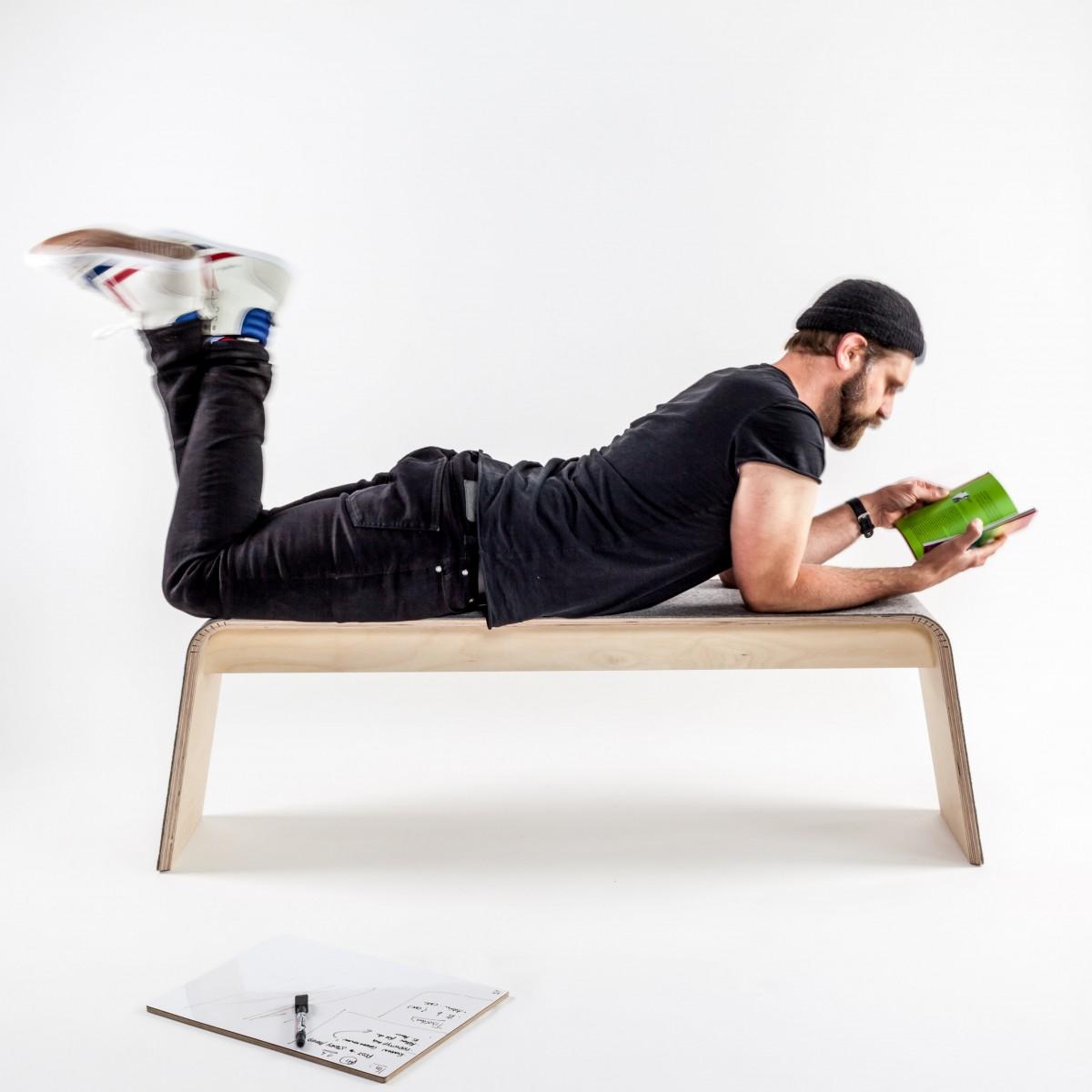 STADIG.stubenbank 140 Design Sitzbank aus Holz mit Wollfilz
