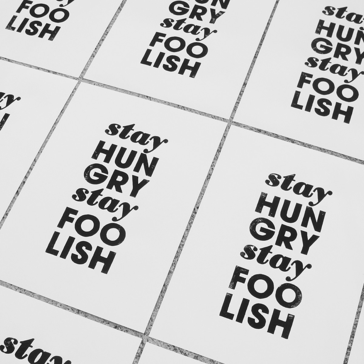 Linoldruck »stay hungry stay foolish«, gerahmt