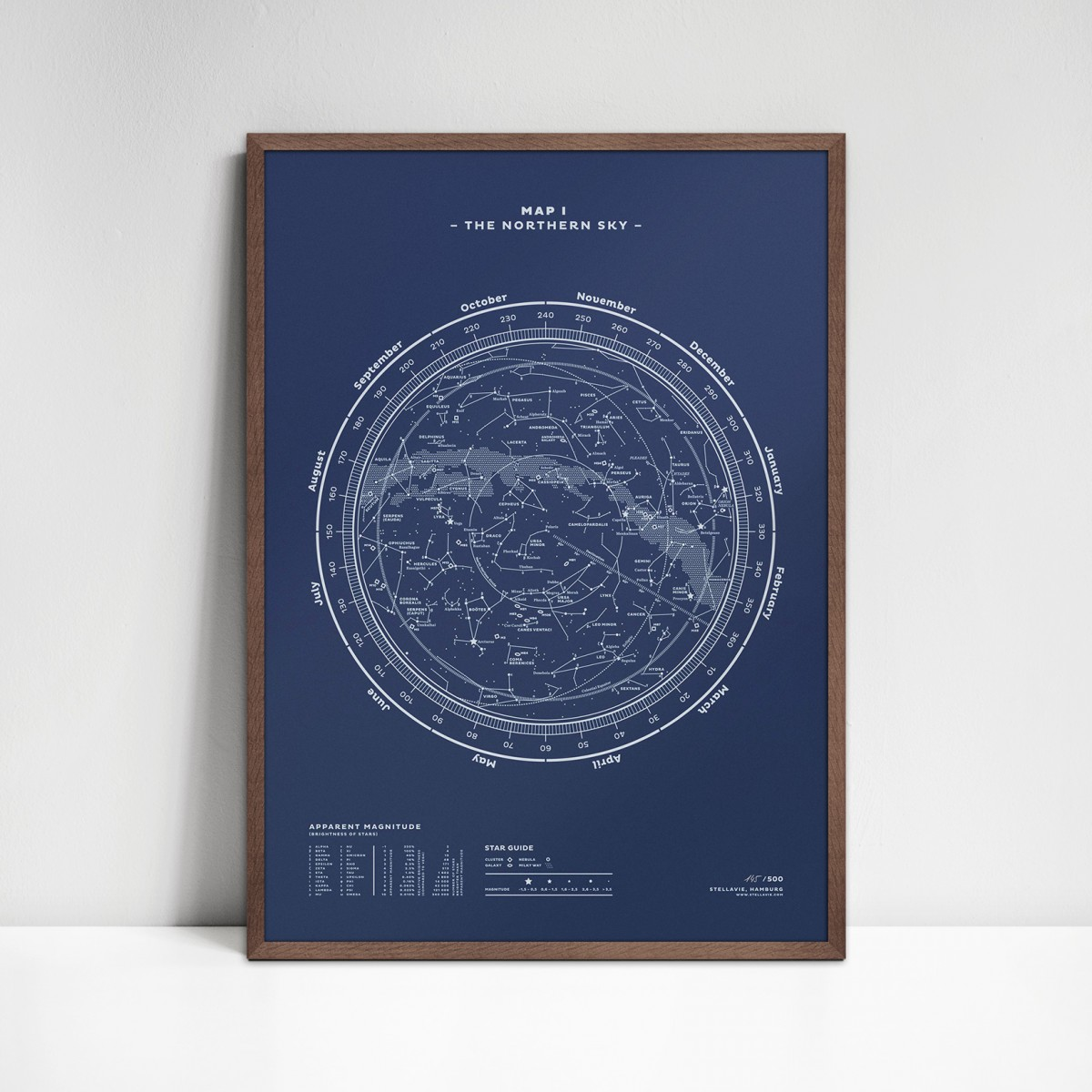 stellavie Map I – The Northern Sky (Night-Blue), Siebdruck