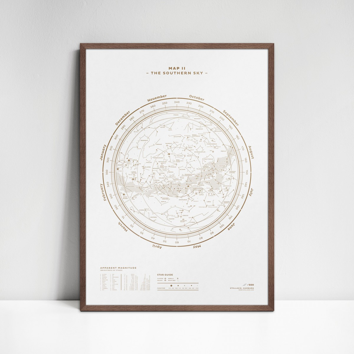 stellavie Map II – The Southern Sky (Gold/White), Siebdruck