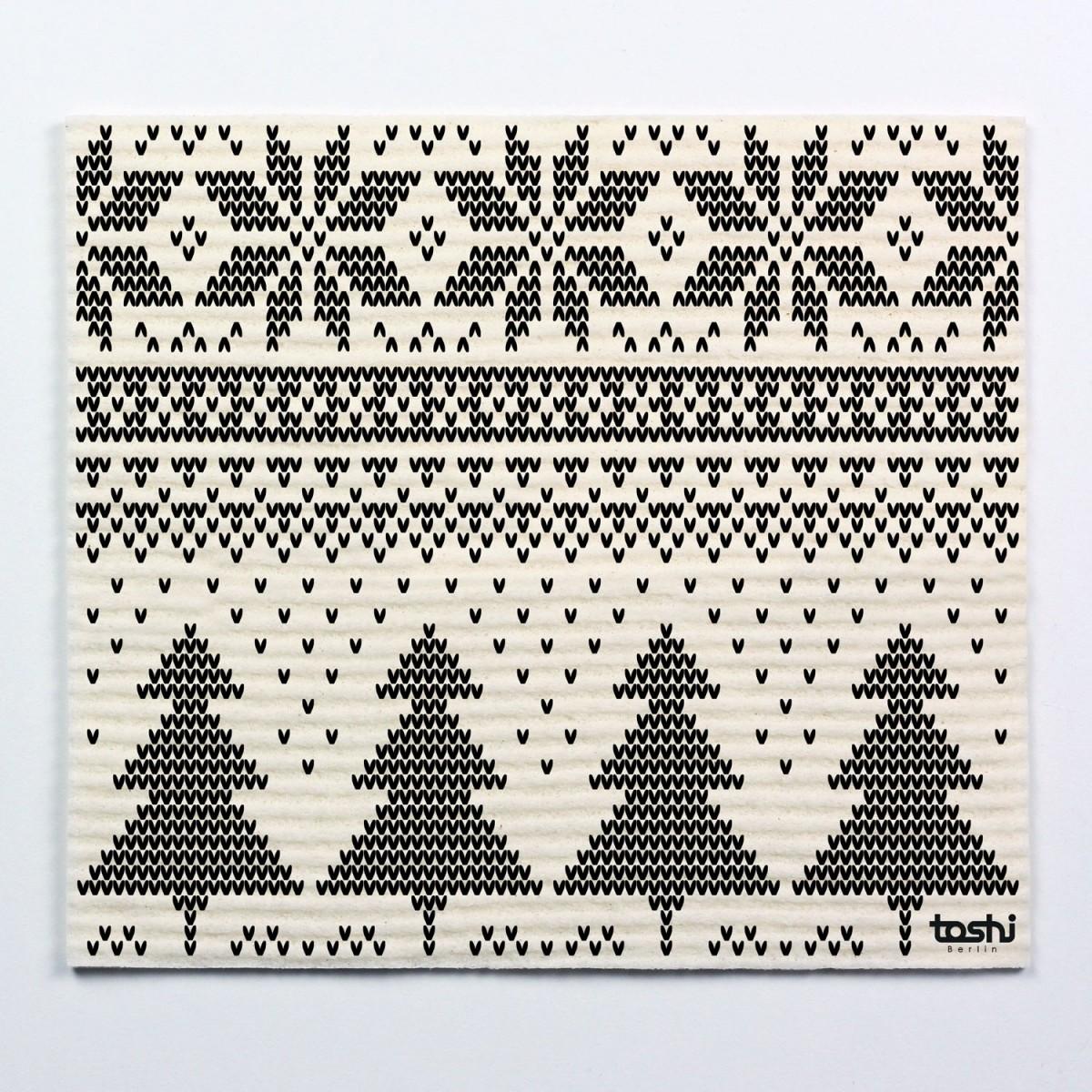 toshi Schwammtücher mit Aufdruck (4er Set Winter)