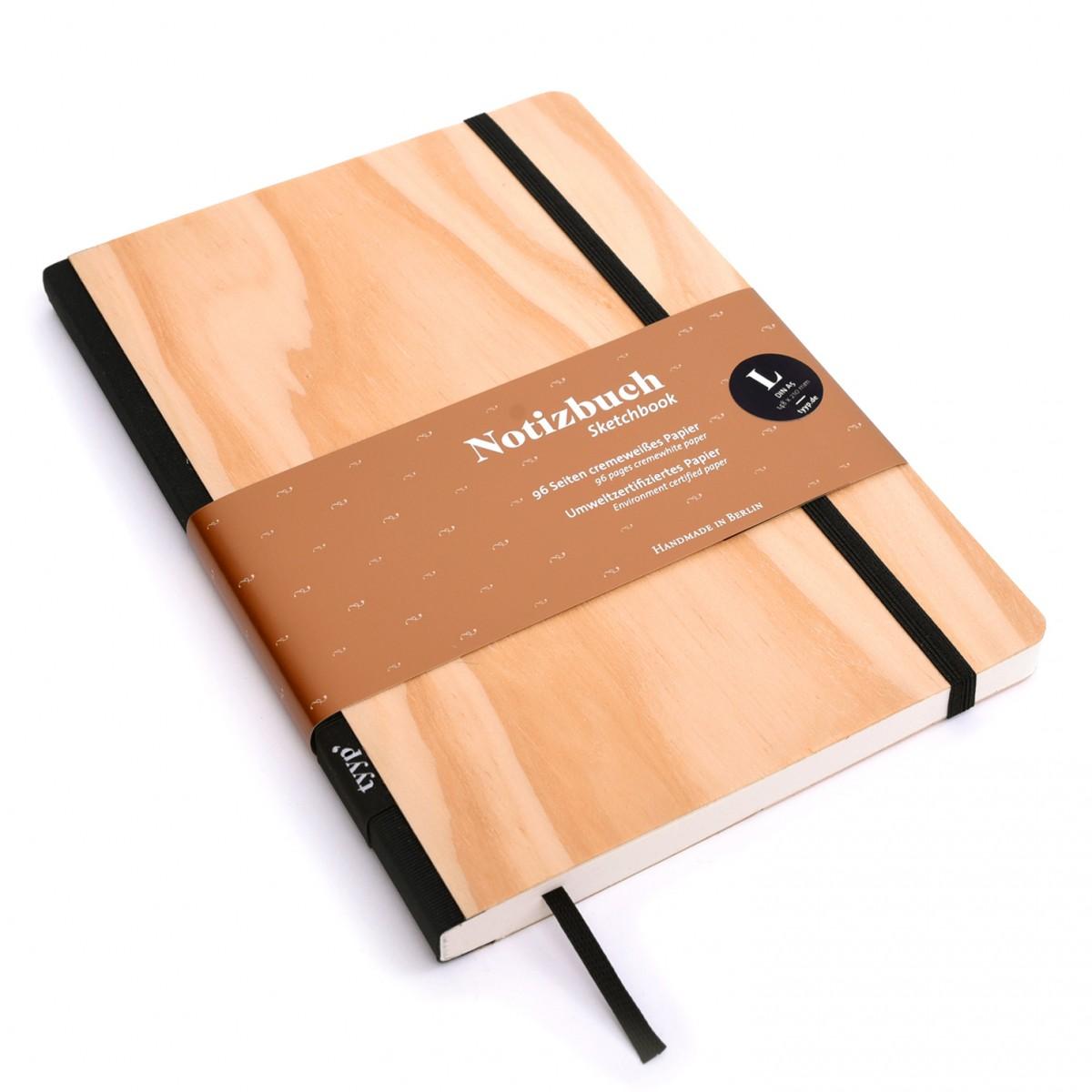 Notizbuch Echtholzfurnier Kiefer BerlinBook WOOD - DIN A5