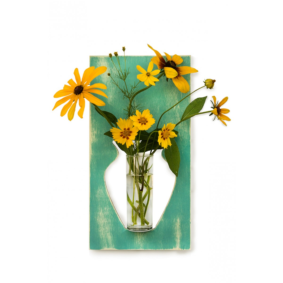 Wandvase flortrait vintage türkis
