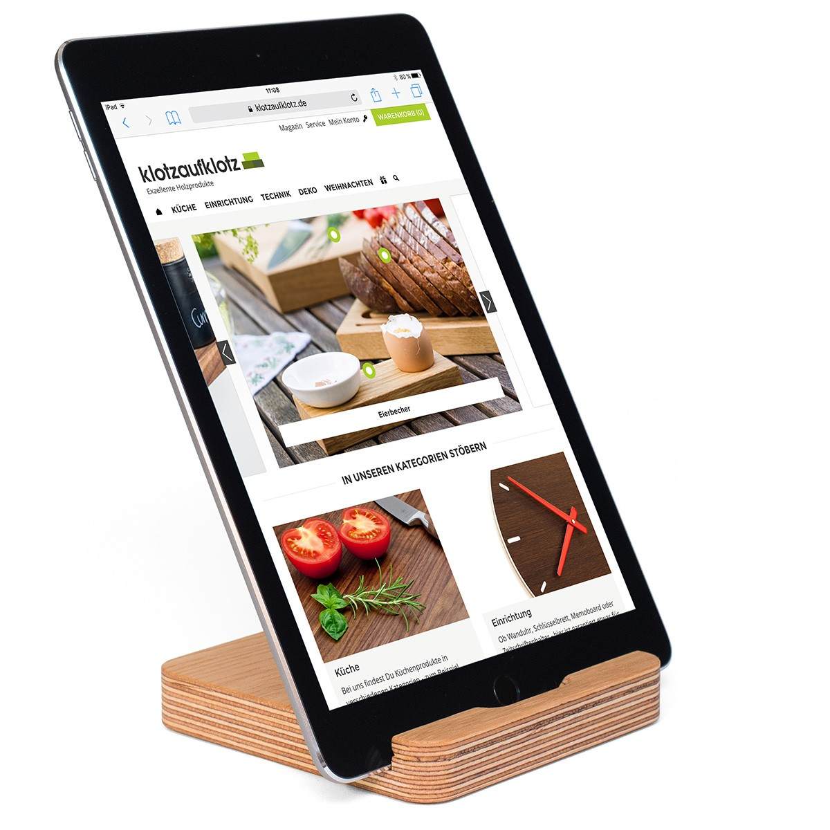 klotzaufklotz Tablet-Ständer Multiplex Eiche