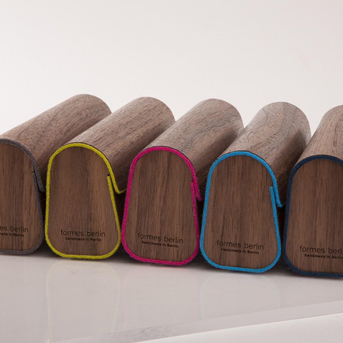 Brillenetui aus Holzfurnier - Nuss Dunkelblau