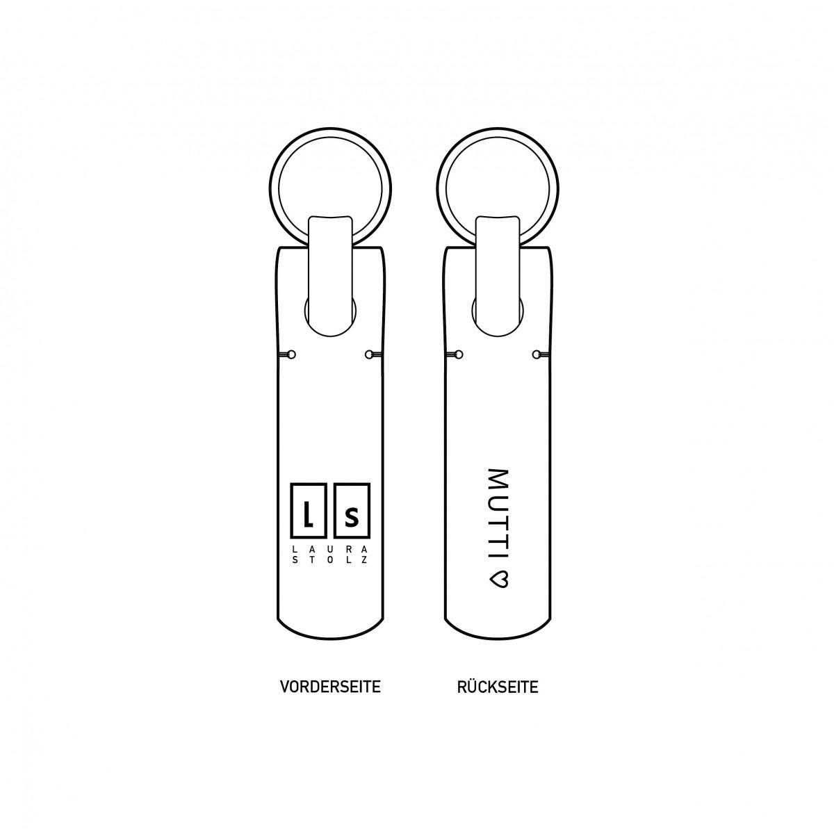 Laura Stolz / Schlüsselanhänger aus Naturleder / Prägung «MUTTI <3» / schwarz