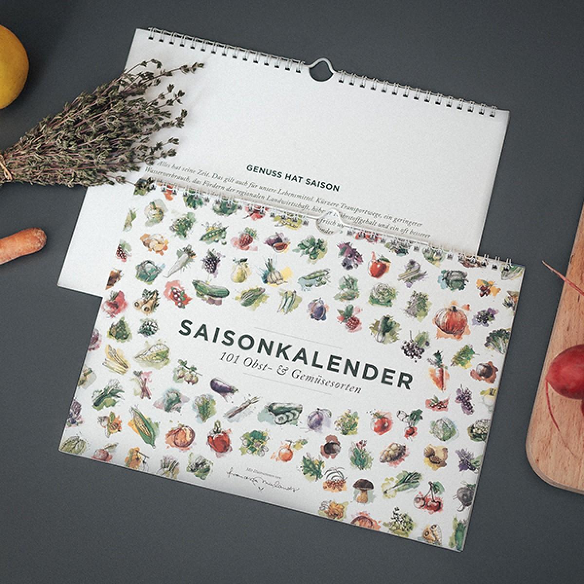 101 Sorten Saisonkalender für Obst und Gemüse in Farbe, Format A4, von Kupferstecher.Art