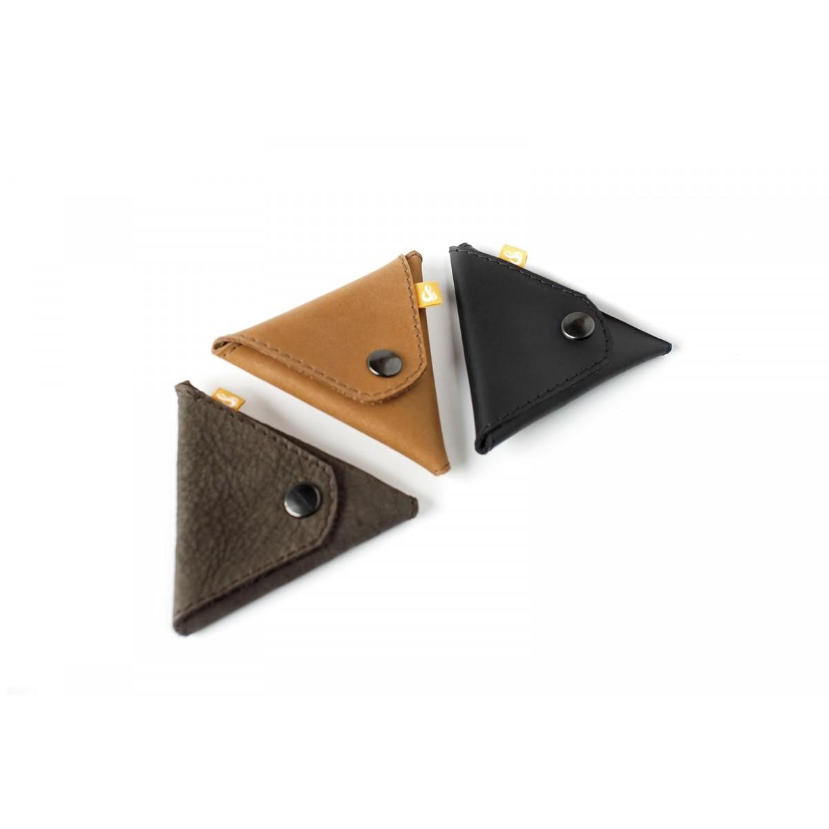 Triangle Wallet - Kleingeldbörse aus cognacfarbenem Leder - Burning Love