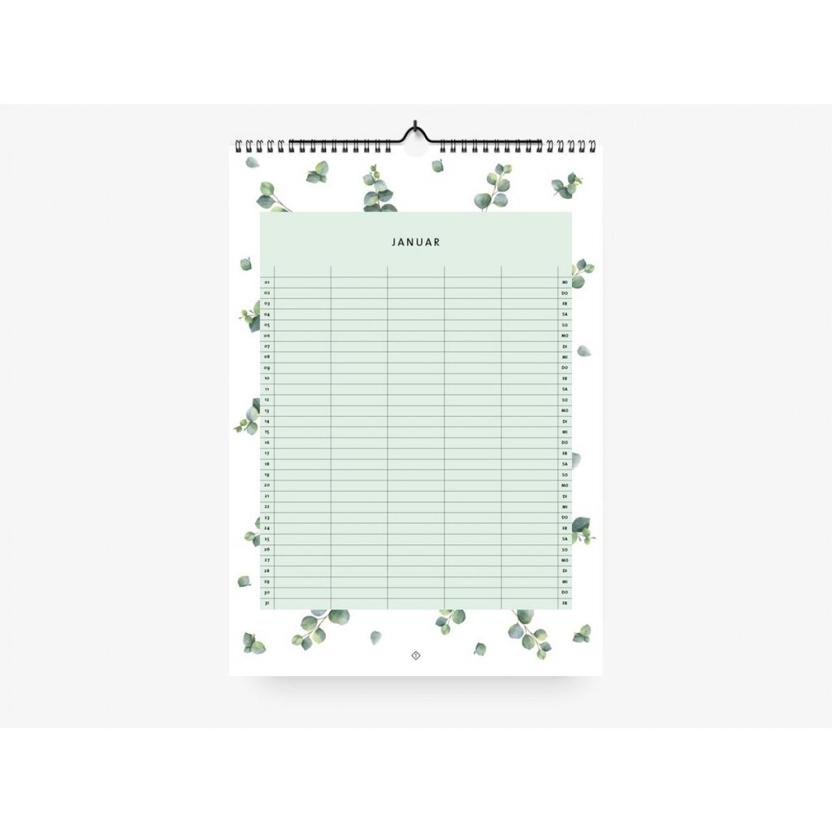 typealive / Familienkalender DIN A3 / Eucalyptus 2020