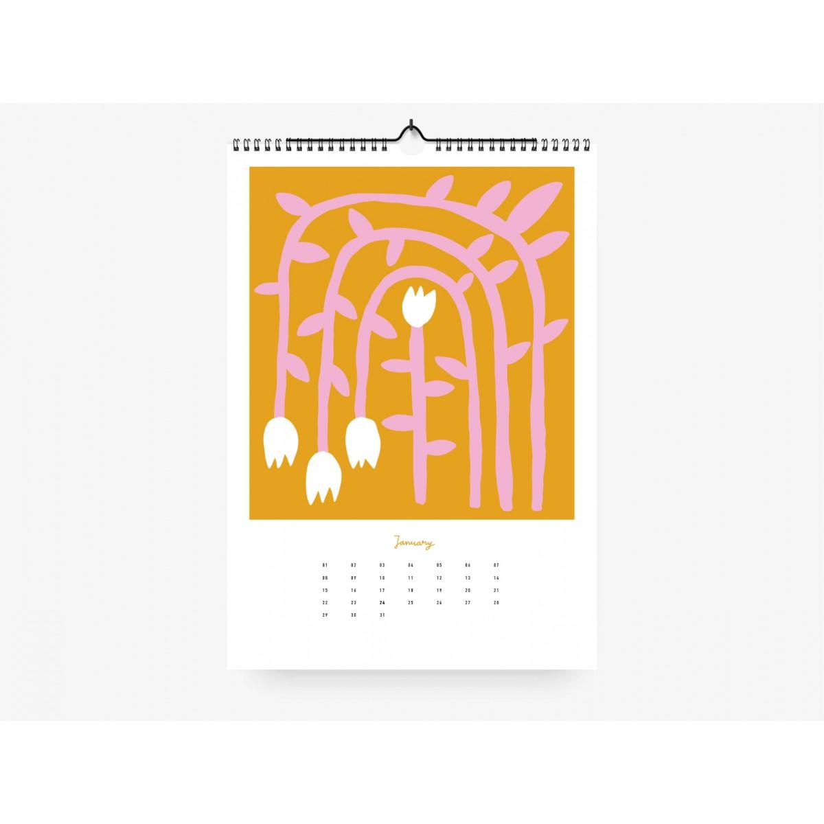 typealive / Wandkalender DIN A4 /  Flowery