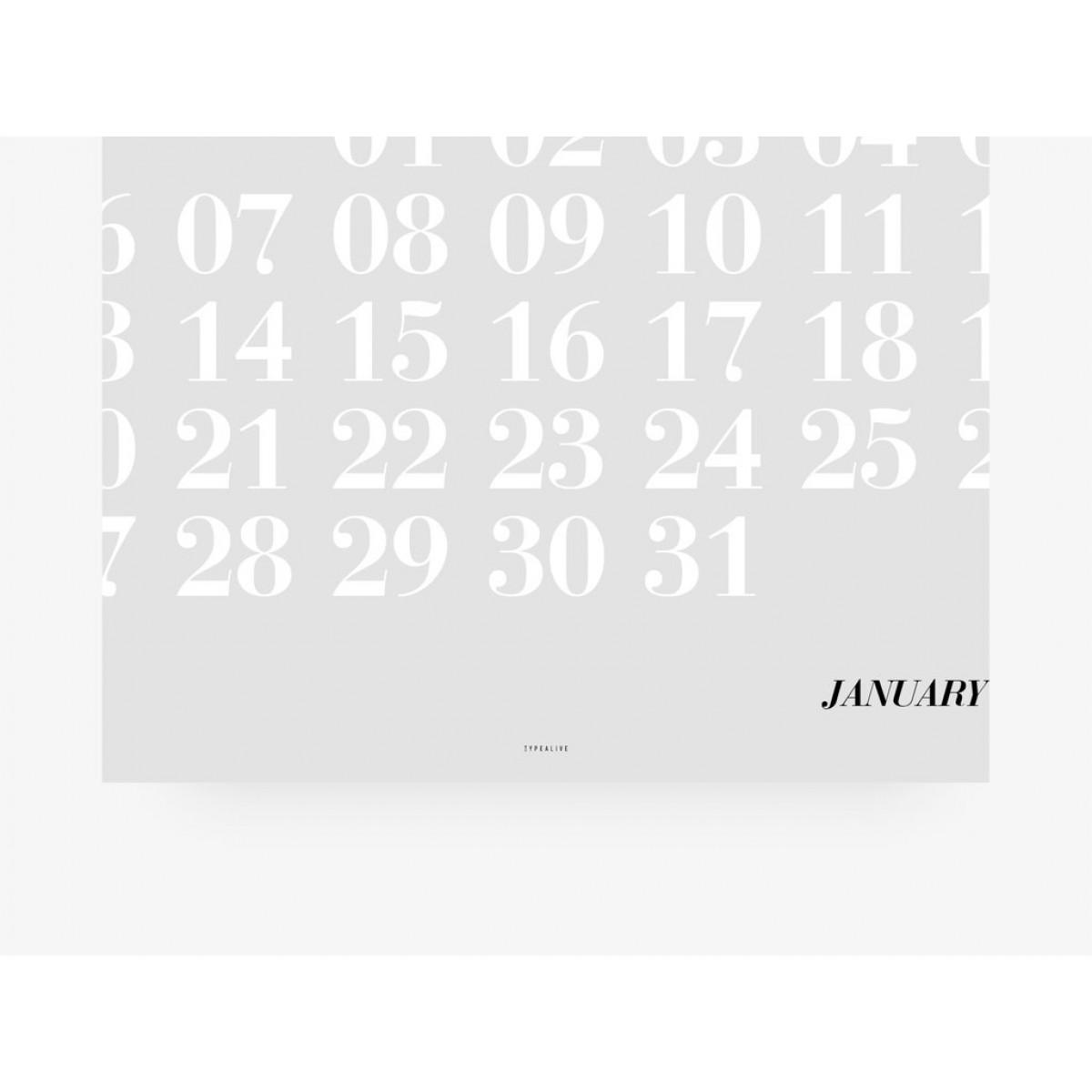 typealive / Wandkalender DIN A3 / Typo Pastel 2020