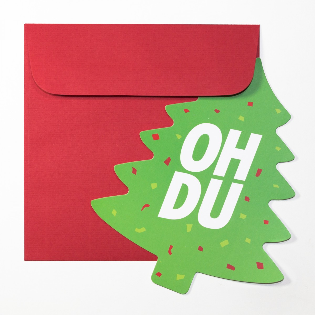 """TYPOP Weihnachtskarte """"Oh Du"""" in Tannenbaumform inkl. Umschlag"""