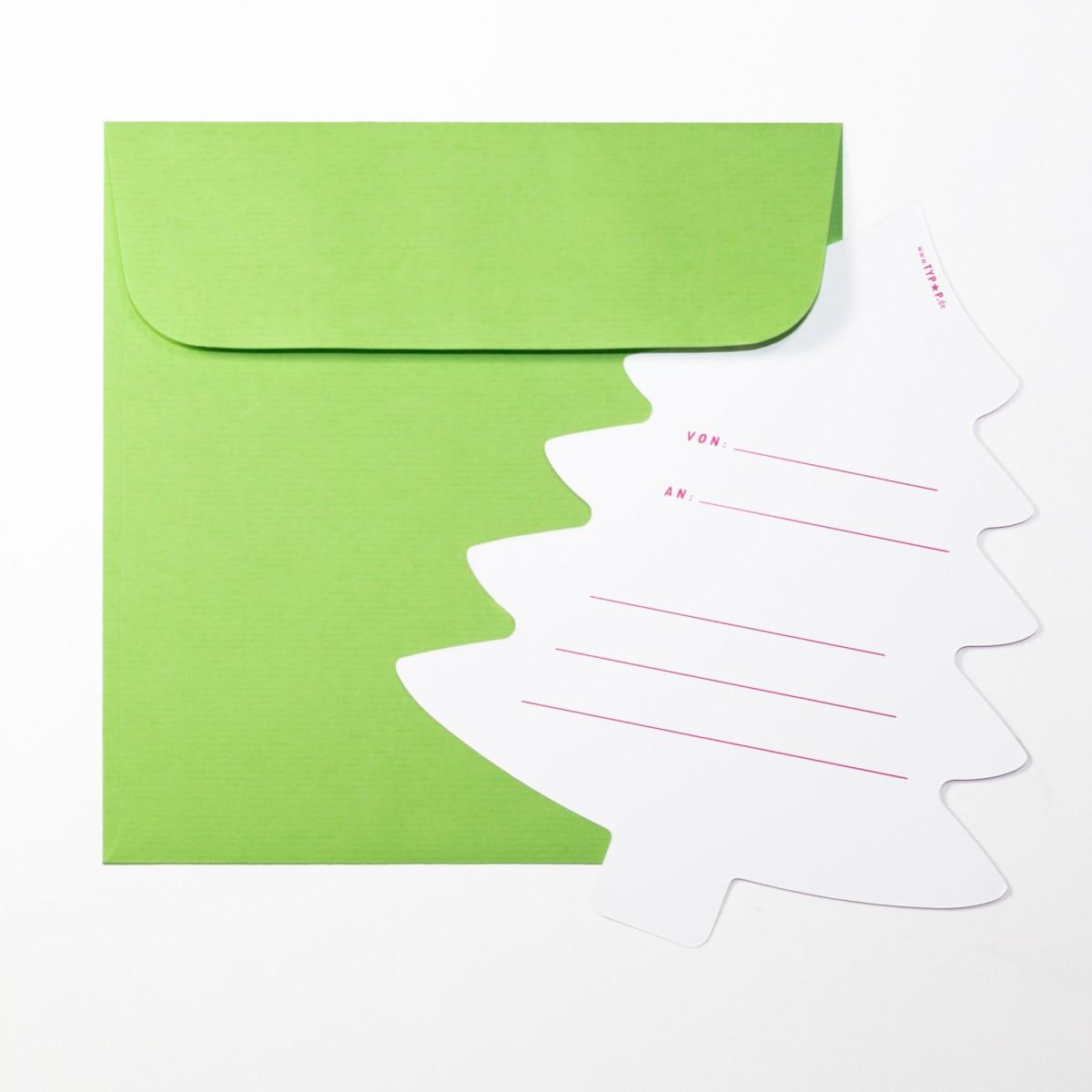 """TYPOP 2-teiliges Set Design WEIHNACHTSKARTE """"Oh Tannenbaum"""" Tannenbaumform inkl. Umschlag"""