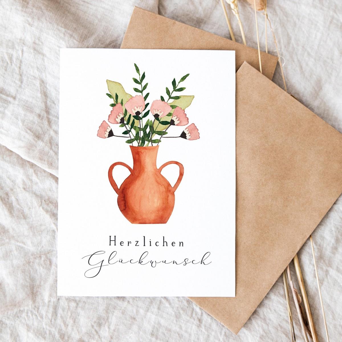 """Paperlandscape   Aquarell Faltkarte """"Blumen in Vase""""   Herzlichen Glückwunsch"""