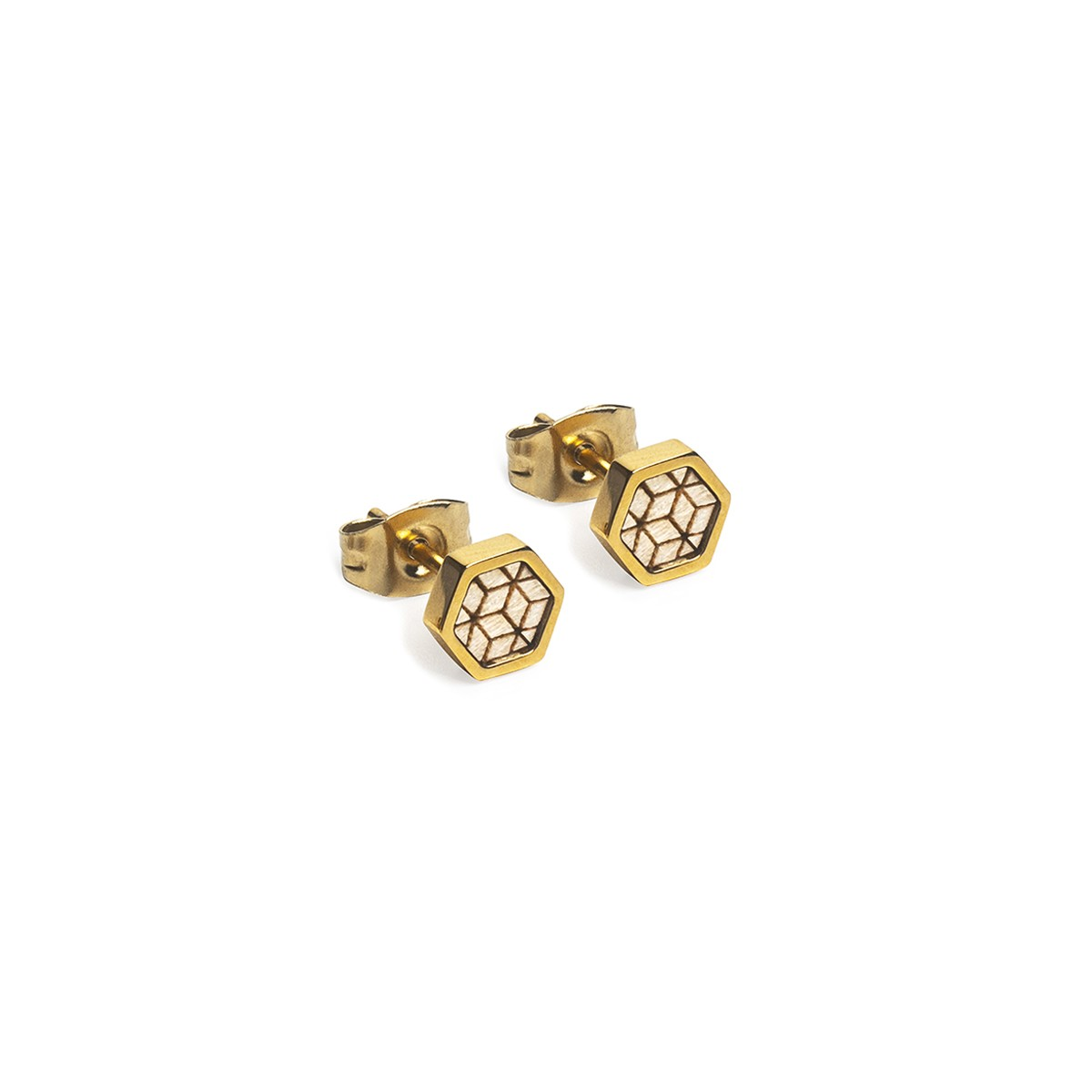 BeWooden Ohrringe - Ohrstecker mit Holzdetail - Virie Earrings Hexagon