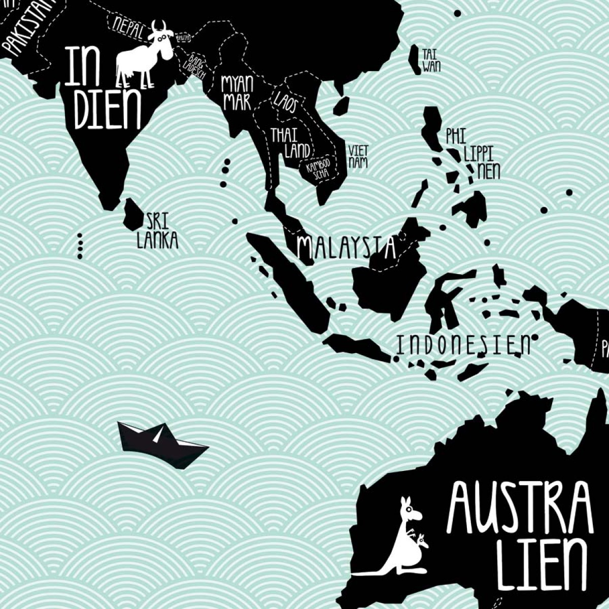 Amy & Kurt Berlin A0 Plakat Weltkarte mint grün
