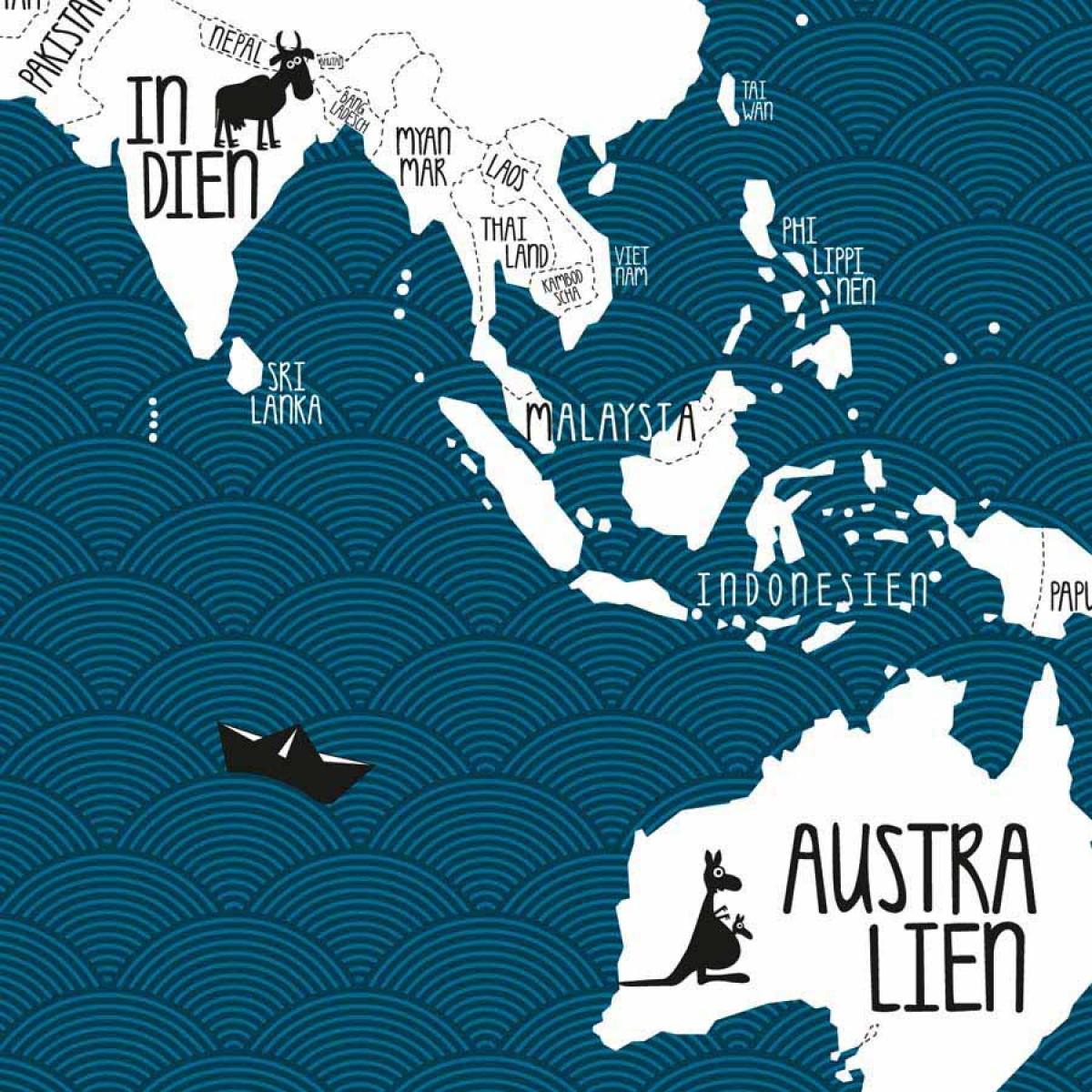 Amy & Kurt Berlin A0 Plakat Weltkarte petrol blau
