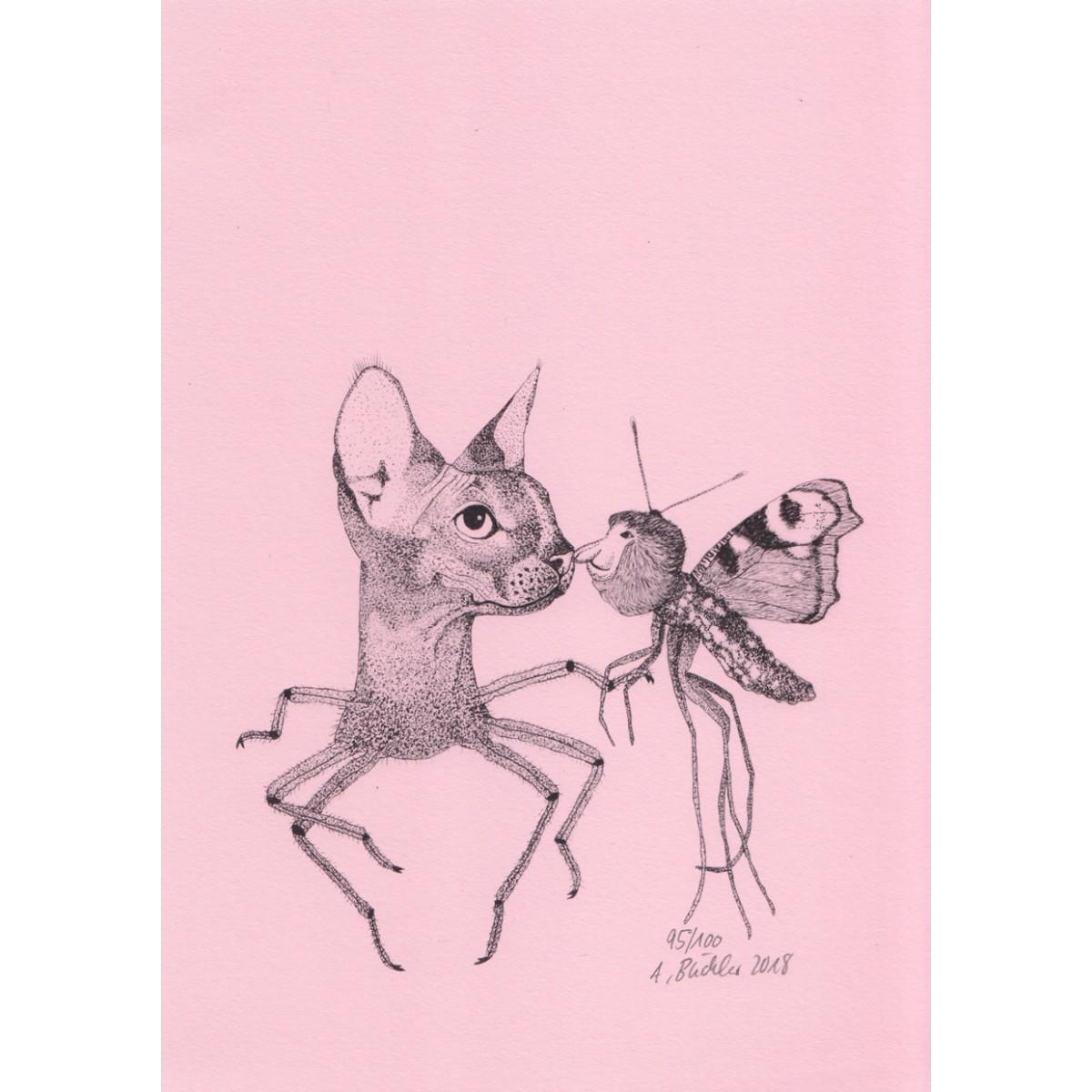 Anka Büchler, Das Liebesspiel der Wolpertinger, limitierte Digitaldruckserie, A5, Motiv 10