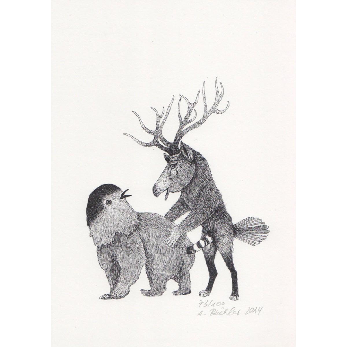 Anka Büchler, Das Liebesspiel der Wolpertinger limitierte Digitaldruckserie, Motiv 06