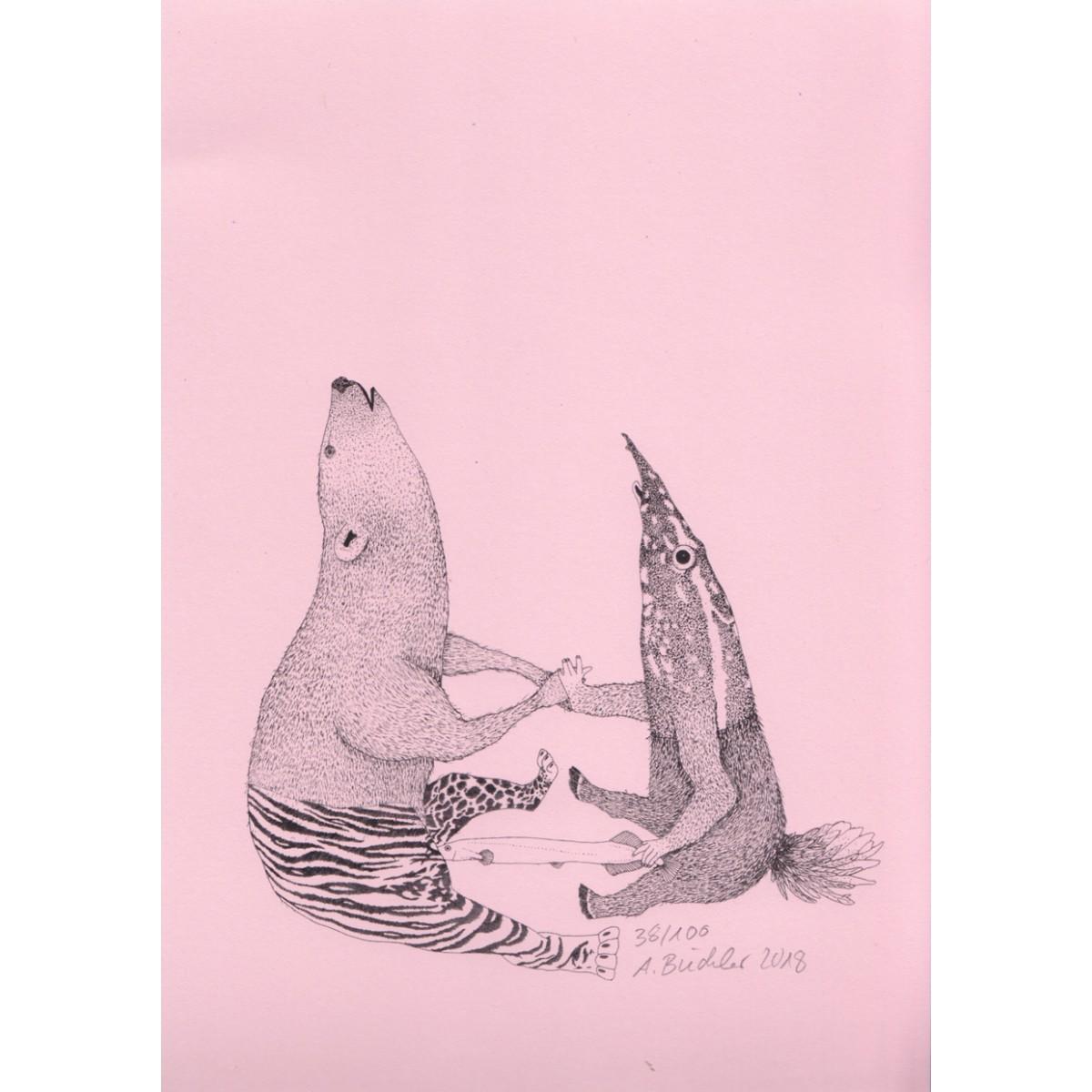 Anka Büchler, Das Liebesspiel der Wolpertinger, limitierte Digitaldruckserie, A5, Motiv 01