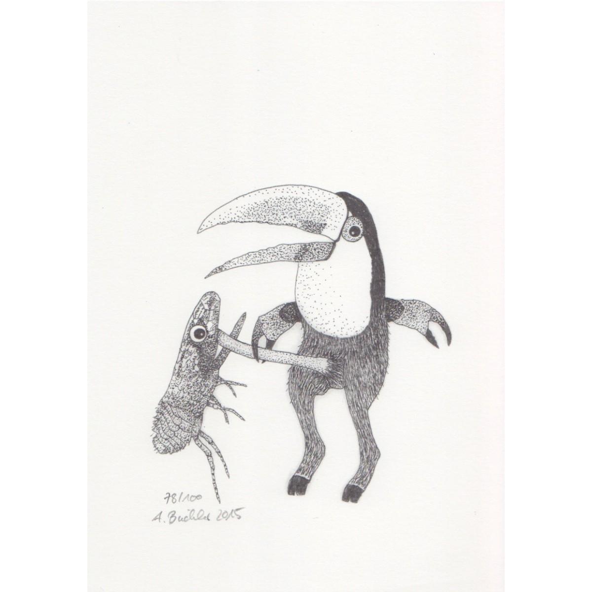 Anka Büchler, Das Liebesspiel der Wolpertinger, limitierte Digitaldruckserie, A5, Motiv 19