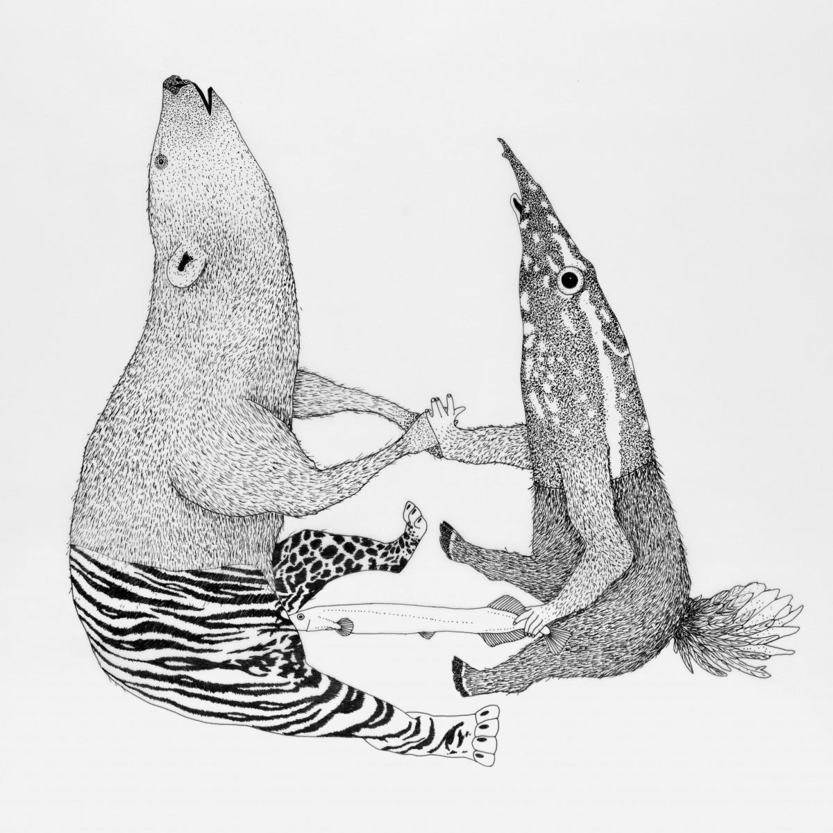 Anka Büchler Das Liebesspiel der Wolpertinger limitierte  Siebdruckserie, Motiv 4