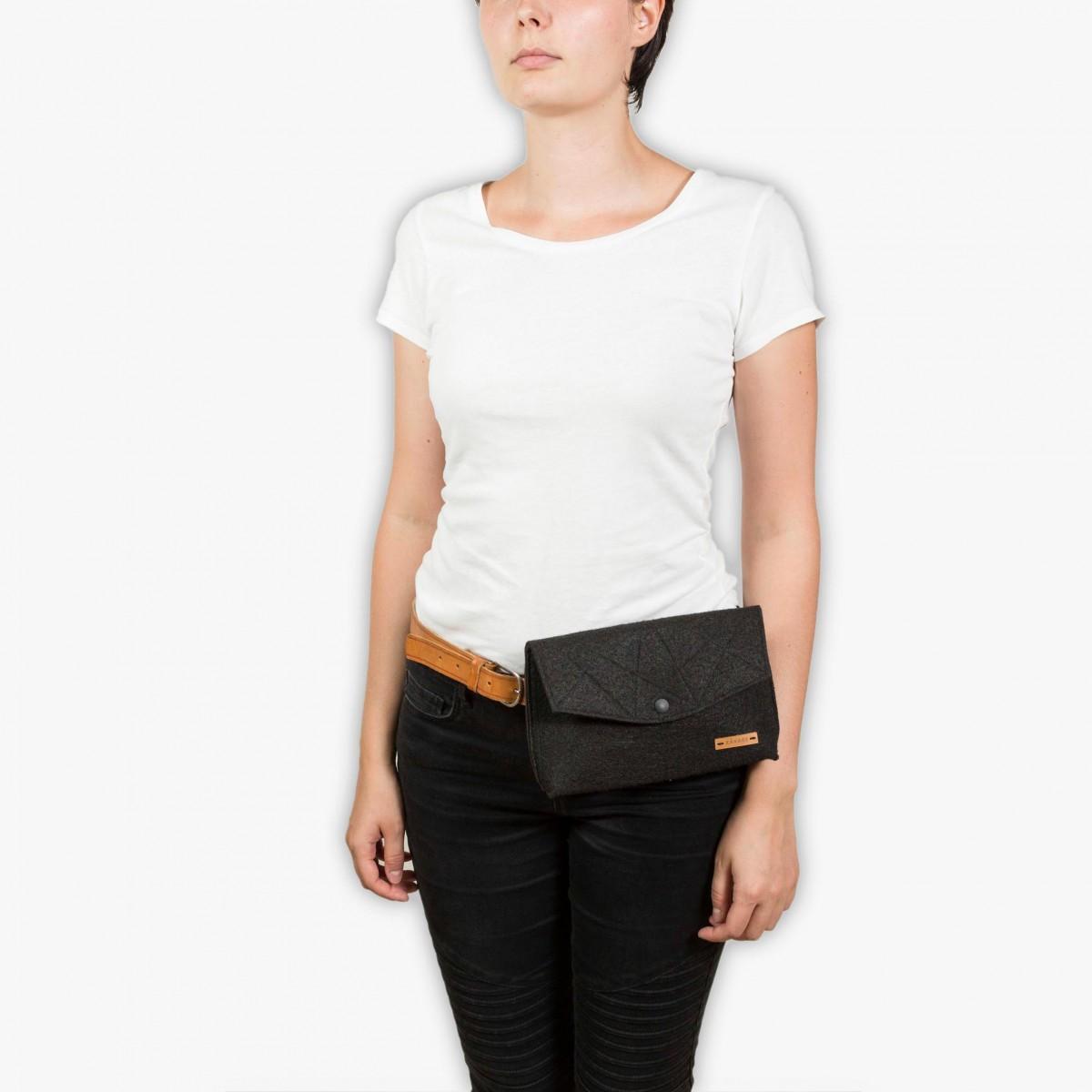 RÅVARE Schicke Umhängetasche mit 2 Tragemöglichkeiten, Clutch & Gürteltasche, kleine Handtasche, Abendtasche [GJOKO]