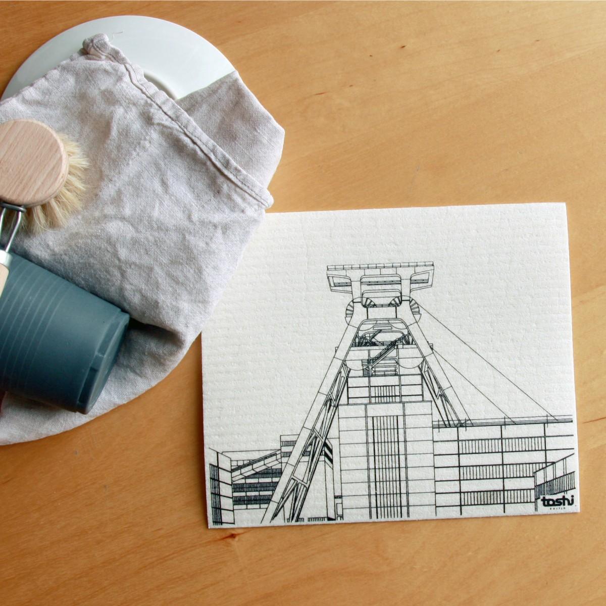 toshi Schwammtuch mit Aufdruck  (Motiv Zeche Zollverein)