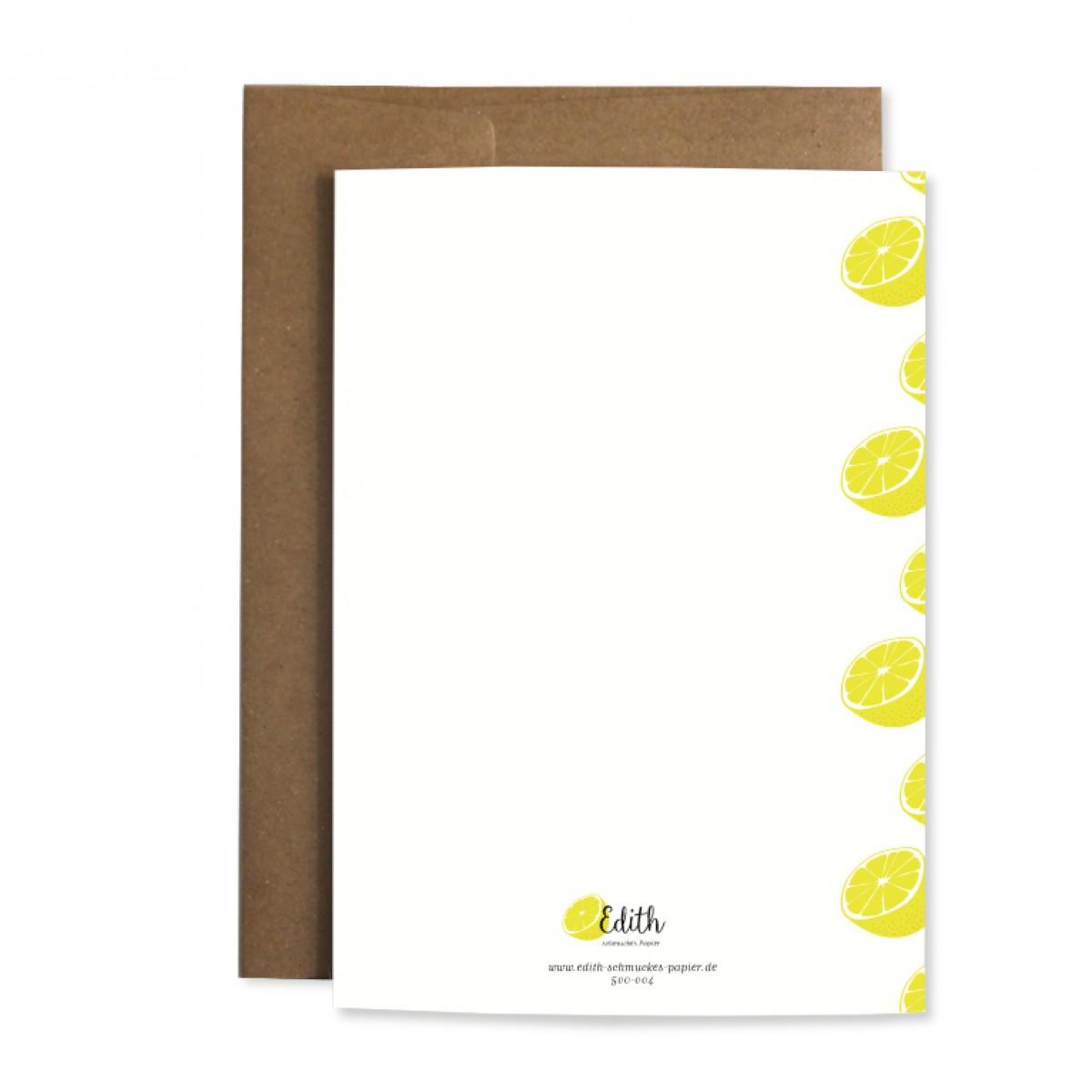 "Edith schmuckes Papier ""Zitrone"" Grußkarte"