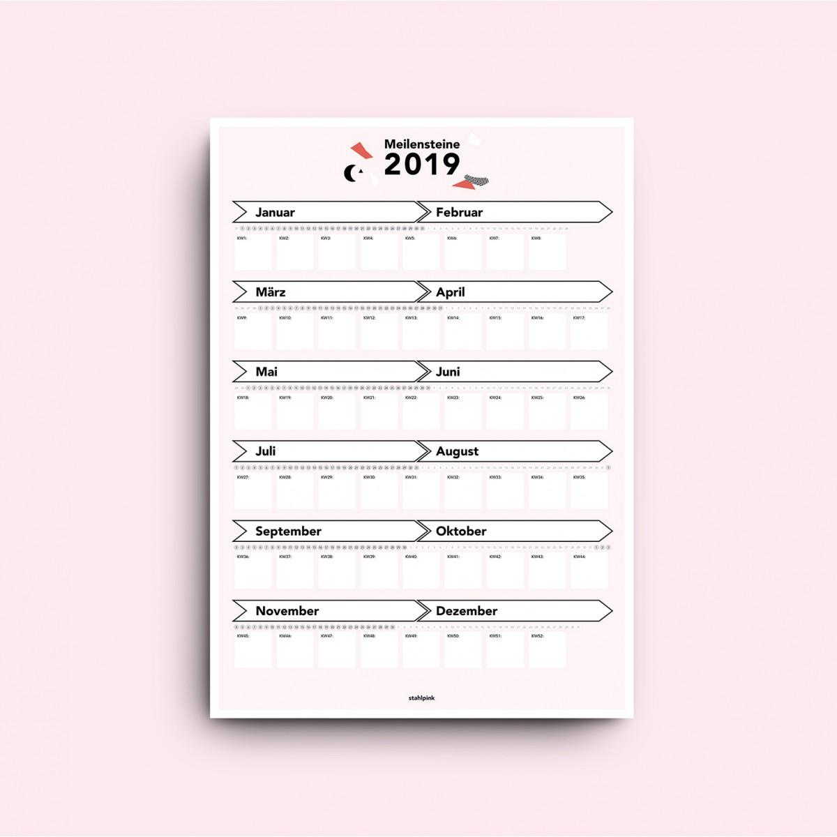 stahlpink – Meilensteine-Kalender 2019 Hochformat