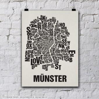 Buchstabenort Münster Stadtteile-Poster Typografie