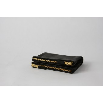 Double Wallet / / black leather